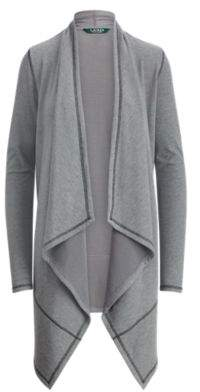 Ralph Lauren Ribbed Open-Front Cardigan Cityscape Grey Heather Xl