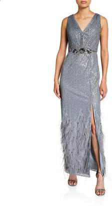 Aidan Mattox Sequin Double V-Neck Sleeveless Gown with Feathered Hem & Beaded Trim