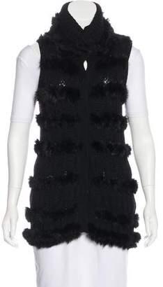 Diane von Furstenberg Fur-Accented Wool Vest