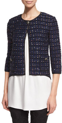 St. John Collection Dana Tweed 3/4 Sleeve Jacket, Prussian Blue/Multi $1,395 thestylecure.com
