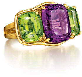 Verdura Cushion-Cut Amethyst & Peridot Ring, Size 6