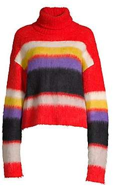 Diane von Furstenberg Women's Chunky Striped Turtleneck Sweater