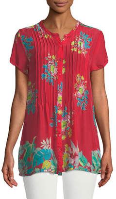 Johnny Was Short-Sleeve Flower Arch Button-Front Pintucked Blouse, Plus Size