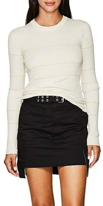 Proenza Schouler Women's Striped Cashmere-Blend Fitted Sweater - Cream