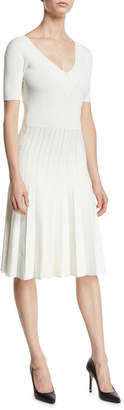 Jason Wu V-Neck Short-Sleeve Fit-and-Flare Viscose-Knit Dress