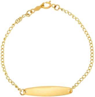 Fine Jewellery Kids 14K Gold Oval ID Curb Cut Bracelet