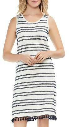 Vince Camuto Sleeveless Striped Tassel-Trim Dress