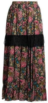 No.21 No. 21 - Floral Print Cotton Skirt - Womens - Black Multi