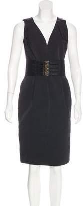 Kaufman Franco Kaufmanfranco Leather-Trimmed Sheath Dress