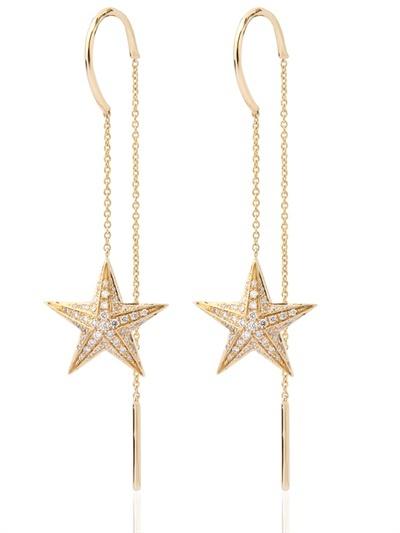 Nessa Gold And Diamonds Star Pendants Earrings