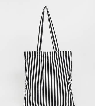 Monki stripe tote bag in black and white