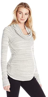 Ingrid & Isabel Women's Maternity Marble Long Sleeve Cowl Neck Tee
