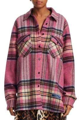 We11Done Oversized Plaid Wool Shirt