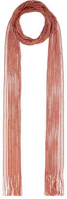 Chloé Metallic Fringed Crochet-knit Scarf - Bronze