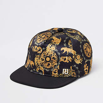 River Island Boys black baroque print flat peak cap