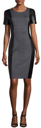 St. John Milano Knit Jewel-Knit Dress W/ Leather Sides