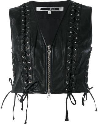 McQ Alexander McQueen Eyelet Biker Gilet $990 thestylecure.com