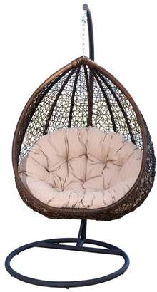 Abbyson Living Newport Brown Outdoor Wicker Swing Chair