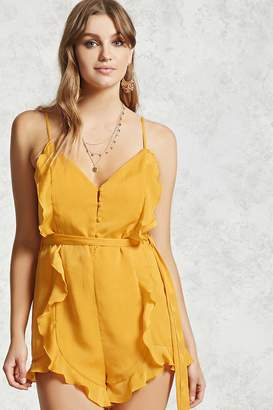 Forever 21 Satin Ruffle Cami Romper
