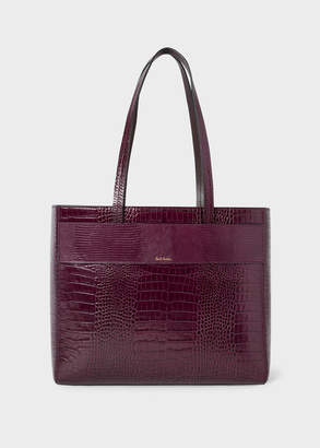 Paul Smith Women's Burgundy Mock-Croc Small Leather Tote Bag
