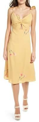 4SI3NNA Twist Front Cutout Midi Dress