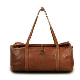 EAZO - Large Leather Extendable Duffle Bag in Brown