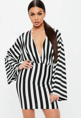 Missguided White Striped Plunge Kimono Sleeve Mini Dress