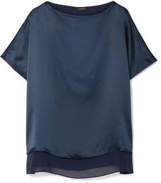 Akris Silk-satin And Georgette Blouse - Navy