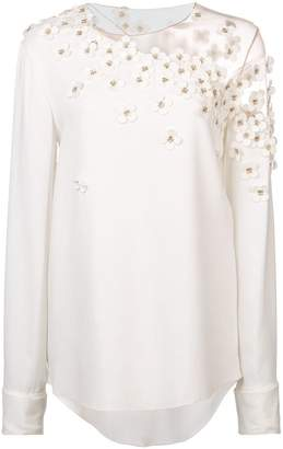 Oscar de la Renta long sleeve appliqué blouse