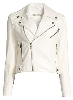 Alice + Olivia Women's Cody Snakeskin Embossed Leather Moto Jacket