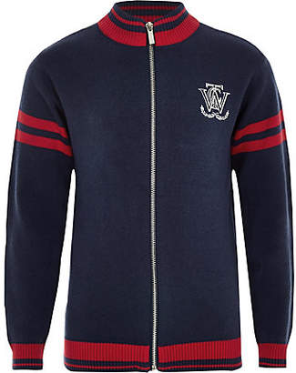 River Island Boys navy zip front cardigan