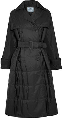 Prada Oversized Double-breasted Quilted Shell Coat - Black