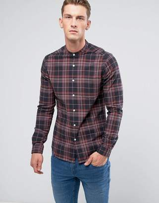 Asos DESIGN stretch slim check shirt with grandad neck