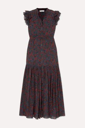 Apiece Apart Pacifica Floral-print Cotton-gauze Maxi Dress - Burgundy