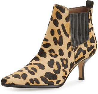 Donald J Pliner Latour Calf-Hair Pointed-Toe Bootie, Black/Leopard $328 thestylecure.com