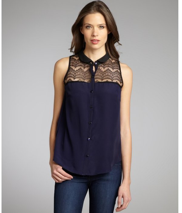 Wyatt navy and black sheer lace woven oxford collar blouse