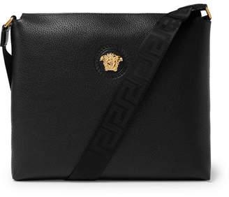 Versace Logo-Detailed Full-Grain Leather Messenger Bag - Men - Black