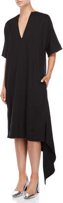 Jil Sander Black V-Neck Asymmetrical Dress