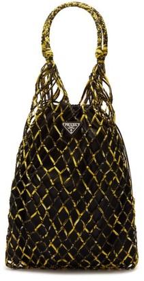 Prada Netted Printed Nylon Tote Bag - Womens - Yellow Multi