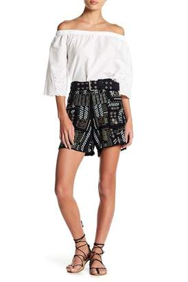 Johnny Was Embroidered Belted Shorts