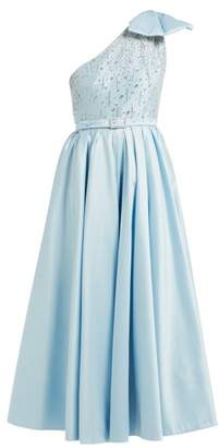 Alessandra Rich Crystal Bodice One Shoulder Cotton Blend Gown - Womens - Light Blue