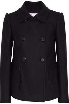 RED Valentino Double-Breasted Scalloped Wool-Blend Coat