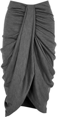 Isabel Marant Datisca Grey Draped Wool Midi Skirt