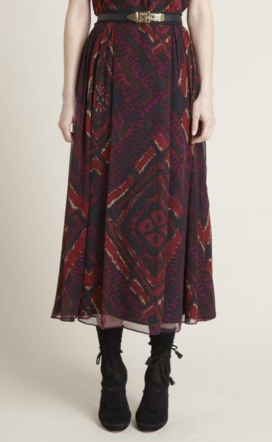 Argyle Batik Long Silk Skirt