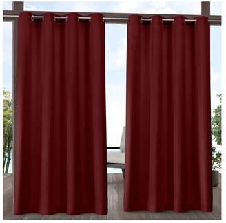 """Exclusive Home Delano Heavyweight Textured Indoor/Outdoor Grommet Top 54"""" X 96"""" Curtain Panel Pair"""