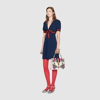 Gucci Jersey V-neck dress with Web