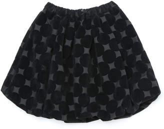 LE Cou Cou リボンモチーフ バルーンスカート ブラックxブラックドット m