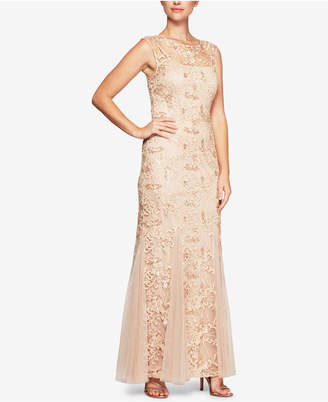 Alex Evenings Sequined Embroidered Stretch Tulle Gown
