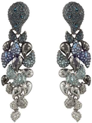 Alexis Bittar Winter Paisley Crystal Encrusted Ombre Statement Clip Earrings
