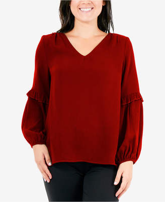 NY Collection Textured Ruffle-Trim Top